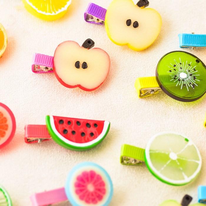 Korean New Fruit Hair Clip Kids Headband Acrylic Sweet Hair Accessories Boutique Flower Barrettes Girl Gift