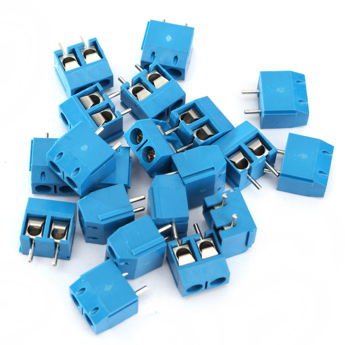 20/100pcs 2P Plug-in Screw Terminal Block Connector 5.08mm Pitch Blue