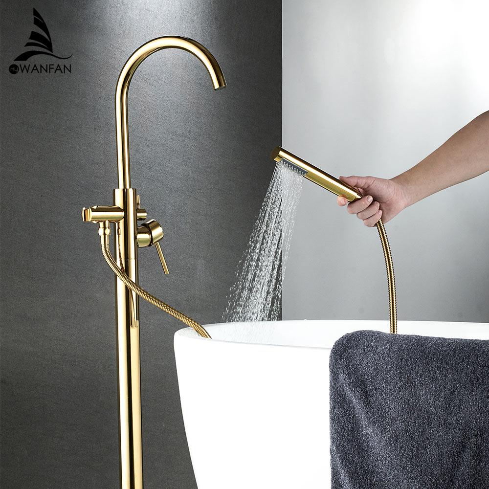 Grifo de bañera Latón dorado montaje en suelo grifo de baño caño giratorio grifo de bañera de un solo mango rociador de ducha de mano grifo mezclador 6021K