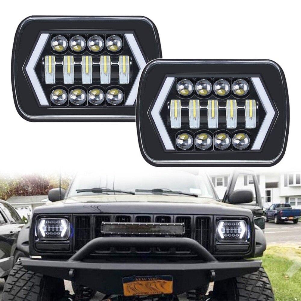 90 Вт 7X6 5X7 светодиодный фонарь со стрелками Белый DRL Янтарный указатель поворота для Jeep Wrangler YJ Cherokee XJ Trucks H4 светодиодный фонарь