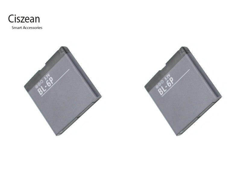 Ciszean 2x3,7 V 830mAh BL-6P teléfono batería de repuesto para Nokia 6500C 6500 clásico 7900 Prism 7900 P BL 6P BL6P bl6p