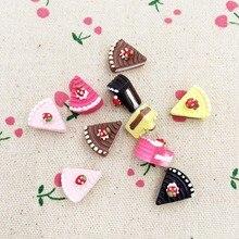 10 stück Gemischte Farbe Harz Flache Rückseite Flatback Cabochon Kawaii Miniatur Gefälschte Lebensmittel Kuchen DIY Handwerk Dekoration Kind Spielzeug 12 * 15mm