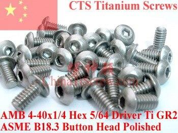 Tornillos de titanio 5-40x1/4 cabeza de botón hexagonal 5/64 controlador Ti GR2 pulido 50 piezas