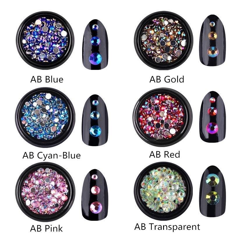 1 caja mezcla de Colores acrílicos arte de uñas brillo AB Rhinestone 3d clavos de cristal decoraciones encanto ACCESORIOS DE MANICURA