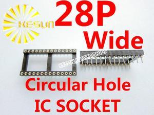 """FREE SHIPPING 17PCS/LOT 28P (2x14 Pins) 0.6"""" Wide Circular hole IC Socket"""