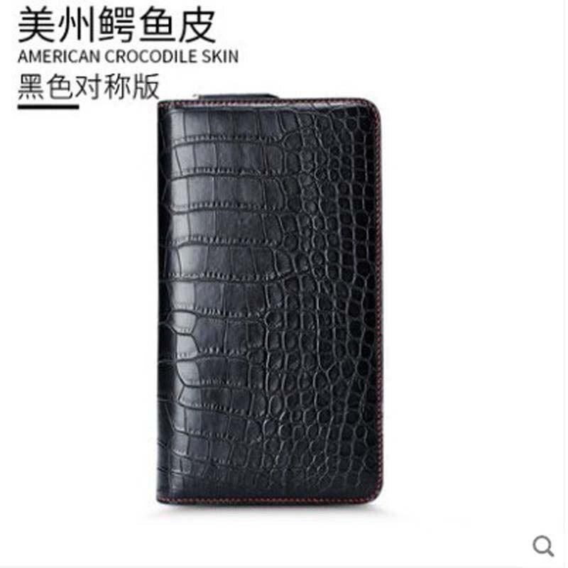 gete Crocodile leather double zipper men hand bag leather commercial multi-clip zipper clutch bag for men