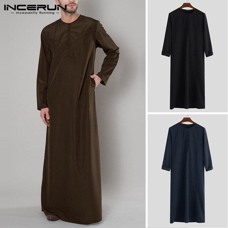 INCERUN árabe islámico Kaftan hombres de manga larga con cremallera sólida batas Abaya Arabia Saudita hombres Thobe vestido caftán islámico ropa 2020