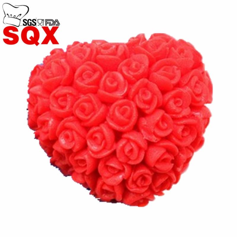 Amor coração forma dos namorados bolo criativo molde 3d rosa flor buquê de silicone chocolate sugarcraft decoração molde sq1408