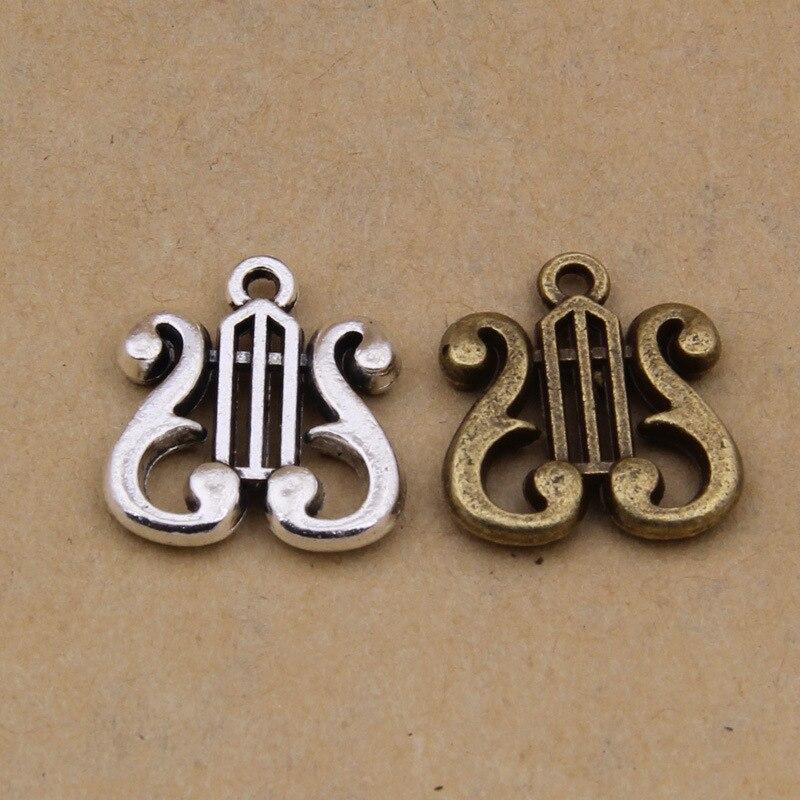 100 Uds 17x16mm aleación de Zinc plata antigua instrumentos musicales arpa encanto COLLAR COLGANTE DIY joyería de moda para mujeres y hombres