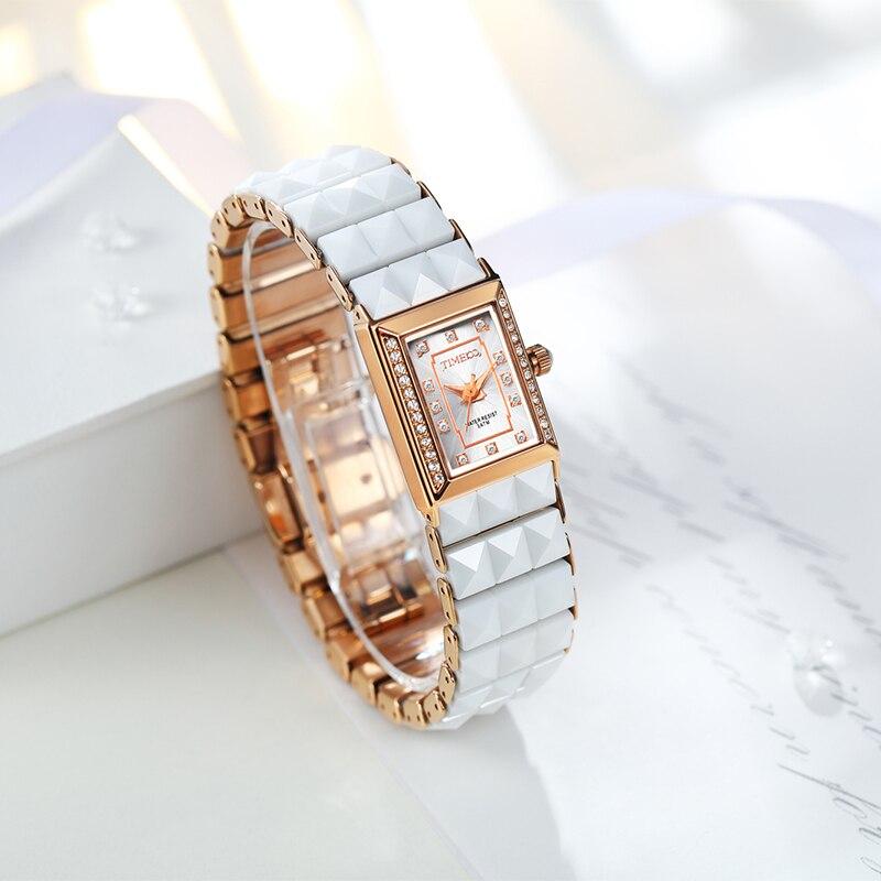 TIME100 Роскошные женские часы Керамические часы кварцевые Diamond Dial дамы Повседневное браслет Часы для Для женщин relogios feminino