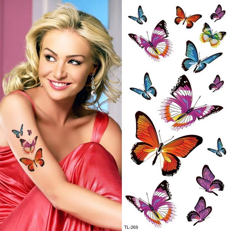 Mariposa flor de loto tatuaje temporal colorido pluma hoja falso negro impermeable tatuaje pegatina para chica niños Arte del cuerpo