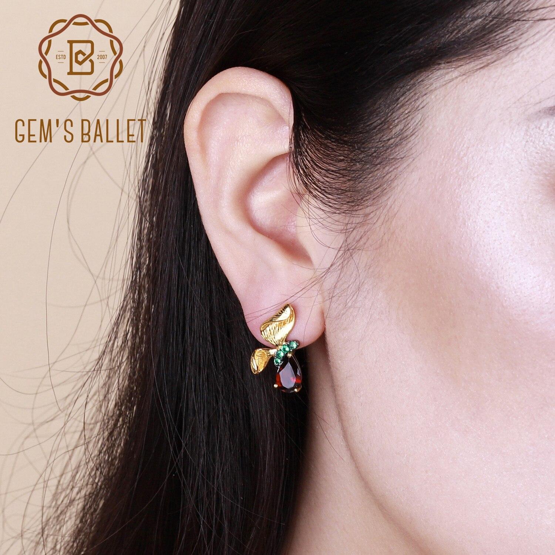 GEMS BALLETT 3.15Ct Nette Natürliche Granat Edelstein Ohrringe Schmuck 925 Sterling Silber Handmade Schmetterling Stud Ohrringe für Frauen