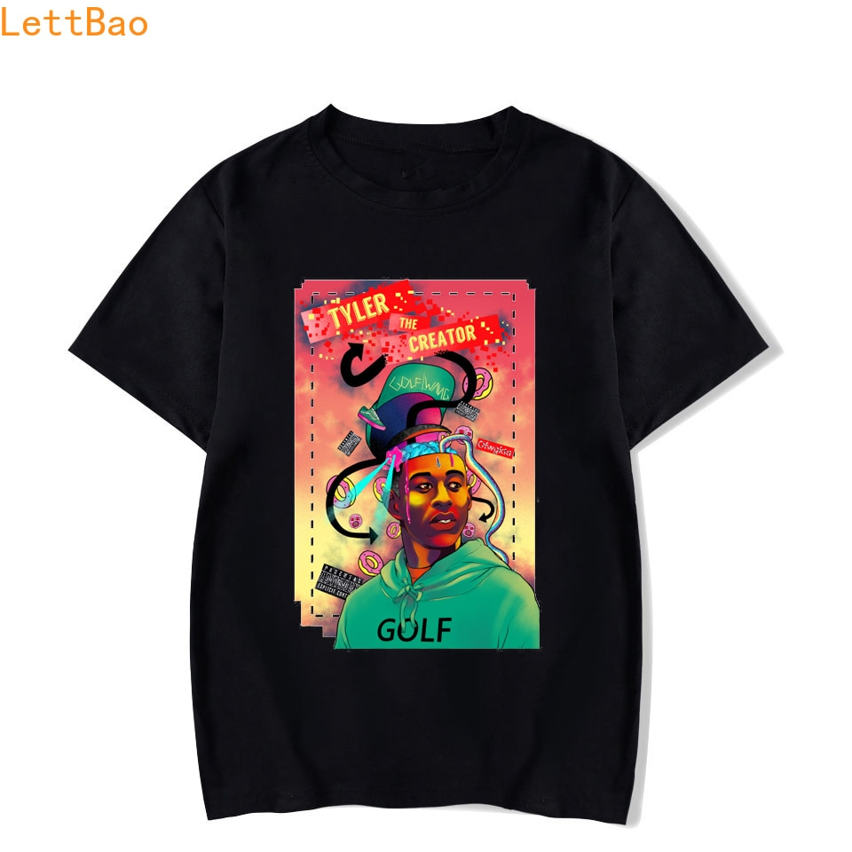 Мужская/женская футболка с короткими рукавами Tyler The Creator, черная хлопковая Эстетическая футболка с короткими рукавами для гольфа, Wang, Harajuku, ...