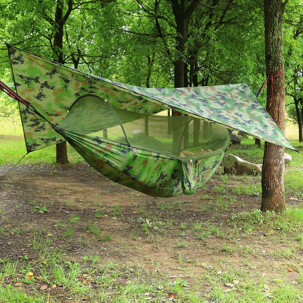 Hamaca de red de Mosquito de apertura rápida al aire libre automática con cubierta impermeable conjunto de toldos hamaca portátil Pop-Up