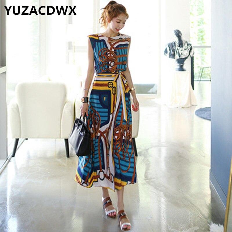 2019 Fashion runway Designer 2 Piece Set Women's Sleeveless Vintage Printed Chiffon Dovetail Shirt+Lace-up Long Skirts 2Pcs Set