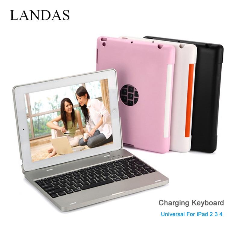 لوحة مفاتيح شحن لاسلكية عالمية تعمل بالبلوتوث لجهاز iPad 3 2 4 ، مع حامل وغطاء لجهاز iPad 3 ، بطارية 4000 مللي أمبير