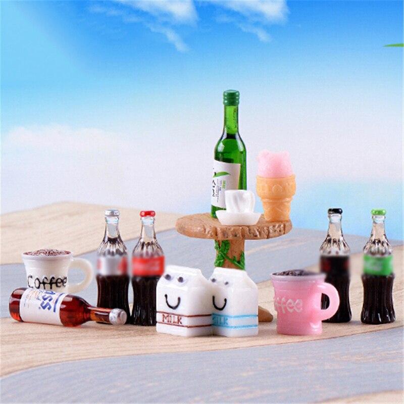 Mini casa artesanato ornamento shadowbox diy paisagismo decoração para o miúdo mini cerveja bebidas milks casa de bonecas em miniatura forma realista