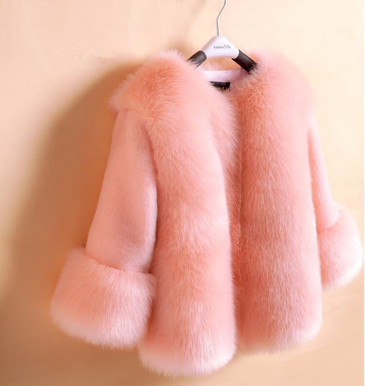 girls faux fur coats little girl pink jacket with Fur O-Neck Children's Faux Fox Fur clothes Long Sleeve Soft Fur winter coats
