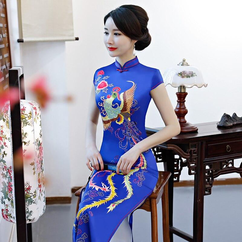Moda mujer Cheongsam largo nuevo vestido de rayón estilo chino verano elegante Qipao Vestidos talla S M L XL XXL XXXL 32914