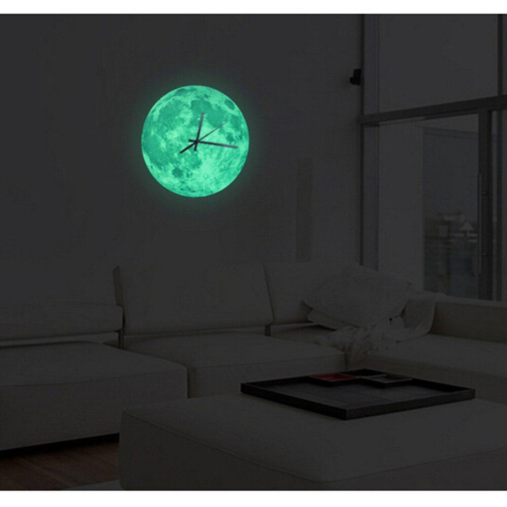 30 см светящиеся Луна настенные часы водонепроницаемые ПВХ Акриловые светящиеся Висячие часы Луна часы в гостиную Декор для спальни