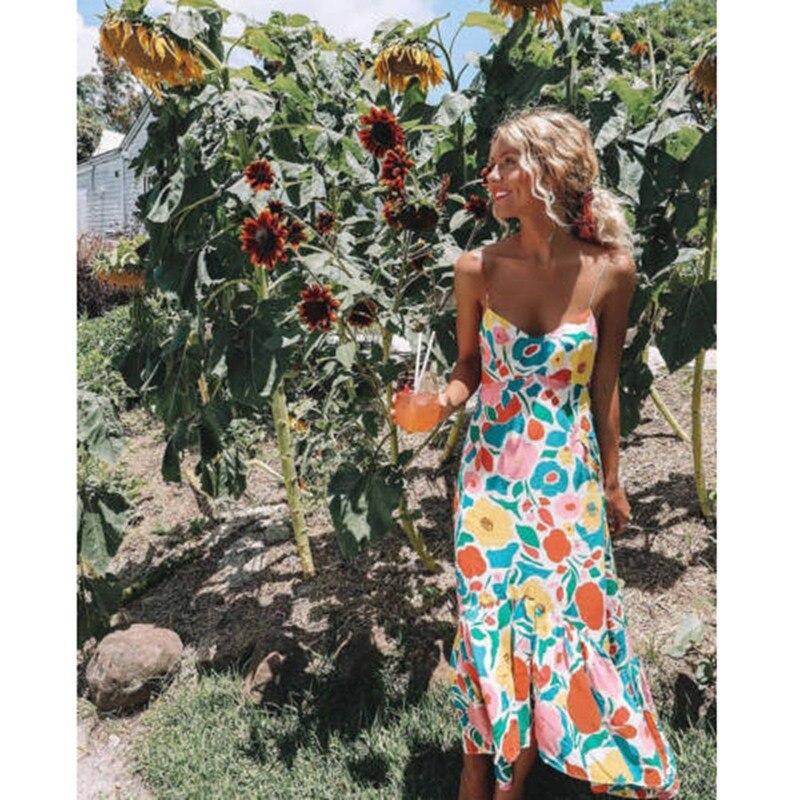 Платье женское, длинное, с треугольным вырезом, шифоновое, с цветочным рисунком