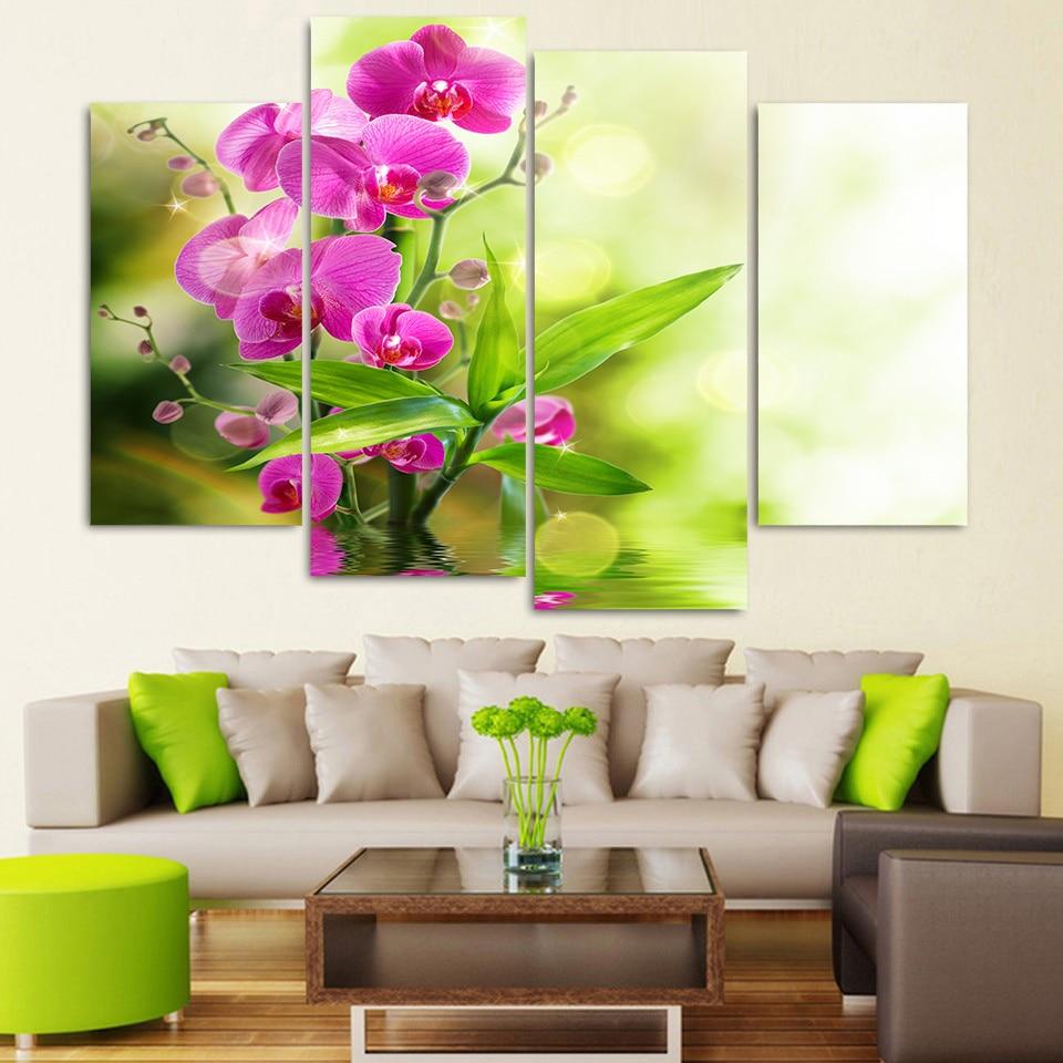 Imágenes impresas, pintura de pared, arte Modular, póster, 4 paneles, rosa, orquídea, sala de estar marco moderno para, decoración HD para el hogar