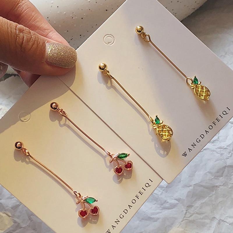 Lindo S925 plata aguja fresa de manzana Pin manzana colgante gota pendientes para chica largo oro/oro rosa CZ fruta coreana pendiente