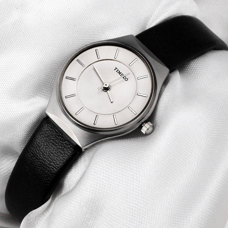 TIME100 часы женские наручные безнес ультратоникий корпус водонепроницаемые черный