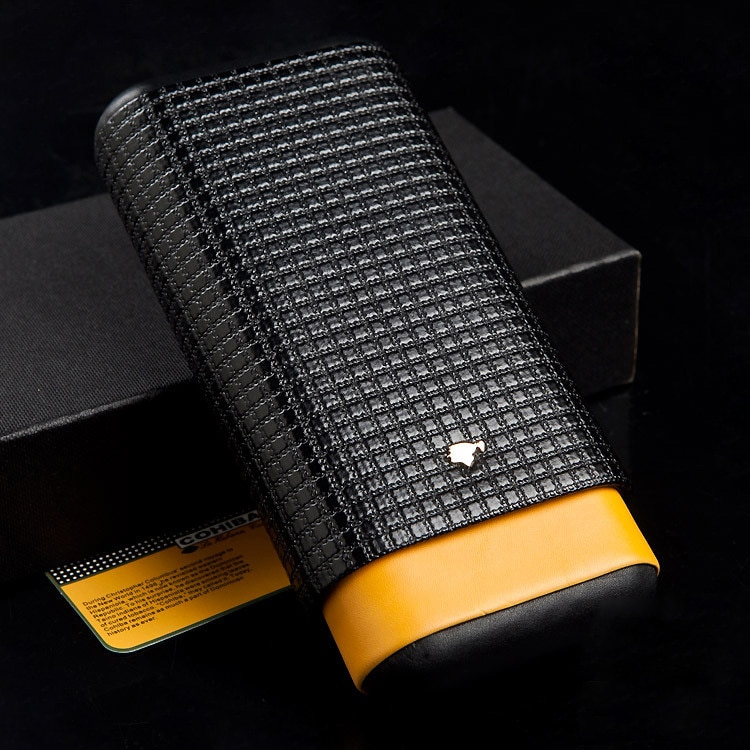 Черный и желтый кожаный чехол COHIBA с подкладкой из кедра и дерева 3 трубки для Путешествий Держатель для сигар