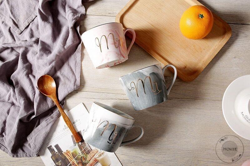 Flamingo Coffee Mug Flamingos Cups Ceramic - Marble pattern - With Handgrip Coffee Mug Milk Water Bottle Breakfast Cereal Cup