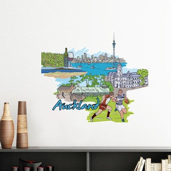 Hand-painted Da Cidade de Futebol Vermelho Vinho Auckland Elementos Da Cultura Removível Wall Sticker Art Decalques DIY Mural Papel De Parede