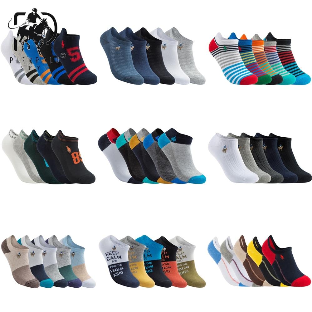 Носки PIER POLO мужские модные повседневные, брендовые мягкие Короткие хлопковые, брендовые Смешные до щиколотки, 5 пар/лот, летние