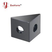 1 pièces v-slot noir Angle coin connecteur 90 degrés Angle support pour openbuild CNC moulin 3D imprimante bricolage pièces