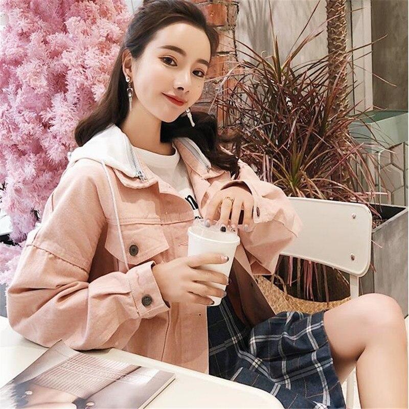 Detachable Hooded Denim Jacket For Women Casual BF Jeans Jacket Vintage Harajuku Coat Female loose Streetwear Basic Coats HC161
