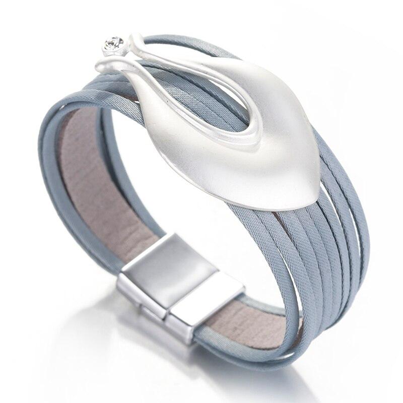 ALLYES Multilayer Braid Bracelets for Women 2020 Fashion Simple Metal Vase Shape Charm Boho Wrap Wide Bracelet Femme Jewelry