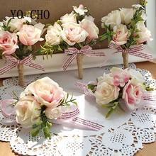 YO CHO Morbidezza Style poignet Corsage Bracelet demoiselle dhonneur soeurs main fleurs fête de mariage mariée marié bal passionné Rose
