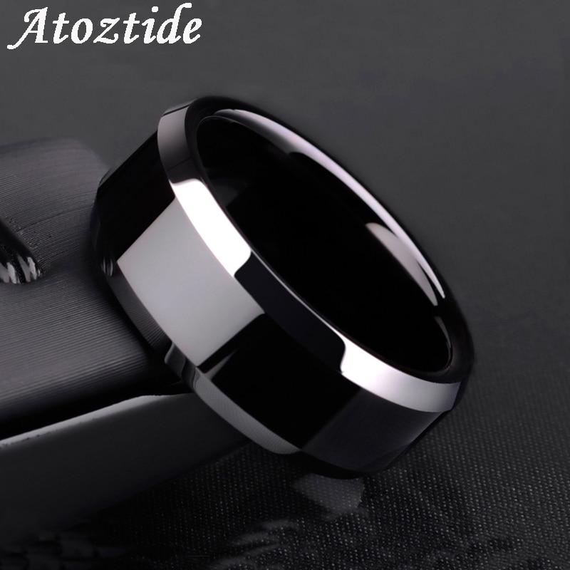 Классическое черное кольцо Atoztide, браслет из нержавеющей стали для свадьбы, ювелирных изделий, подарок для женщин и мужчин, ширина 8 мм