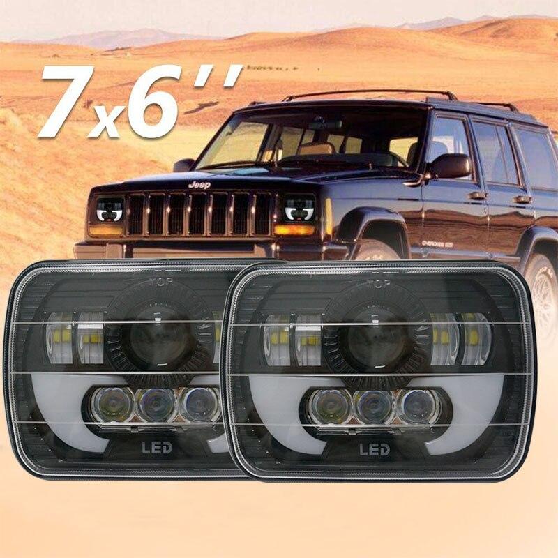 """Negro par 5X7 pulgadas faro delantero led de camión 6x7 """"pulgadas de alto/bajo haz luces de circulación diurna para Jeep Cherokee XJ cuadrado led faro"""
