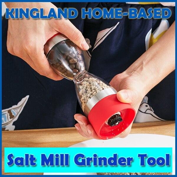 Manualmente portátil Design de Moda de Prata Em Aço Inoxidável 2 em 1 forma de ampulheta Dupla Moinho de pimenta sal Spice Grinder Fácil para limpo