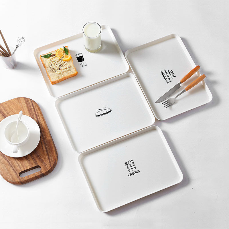 1 plato de cocina de 30x21,3 cm con diseño de taza de pescado rectangular de estilo nórdico para platos de desayuno Bandeja de postres de té