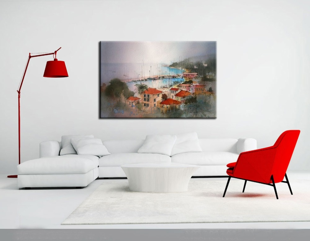 Acuarela hecha a mano, arte abstracto moderno para pared, paisaje, artesanía para colgar, cuadros, arte de paisaje marino pintado a mano, pinturas al óleo sobre lienzo