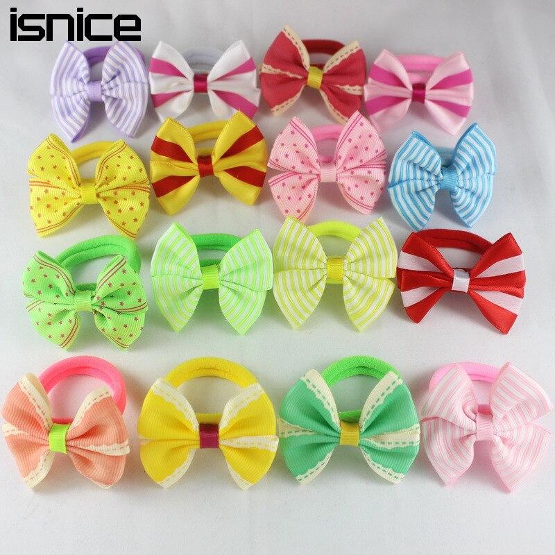 Isnice 10 шт., 2 дюйма, в горошек/со звездой, с бантом, заколки для волос, резиновые ленты для девочек, детские аксессуары для волос, резинка для волос, цветы