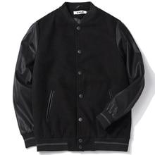Uniforme de léquipe scolaire pour hommes noir en cuir manches collège veste universitaire matelassé Baseball Letterman manteau grande taille 5XL 6XL