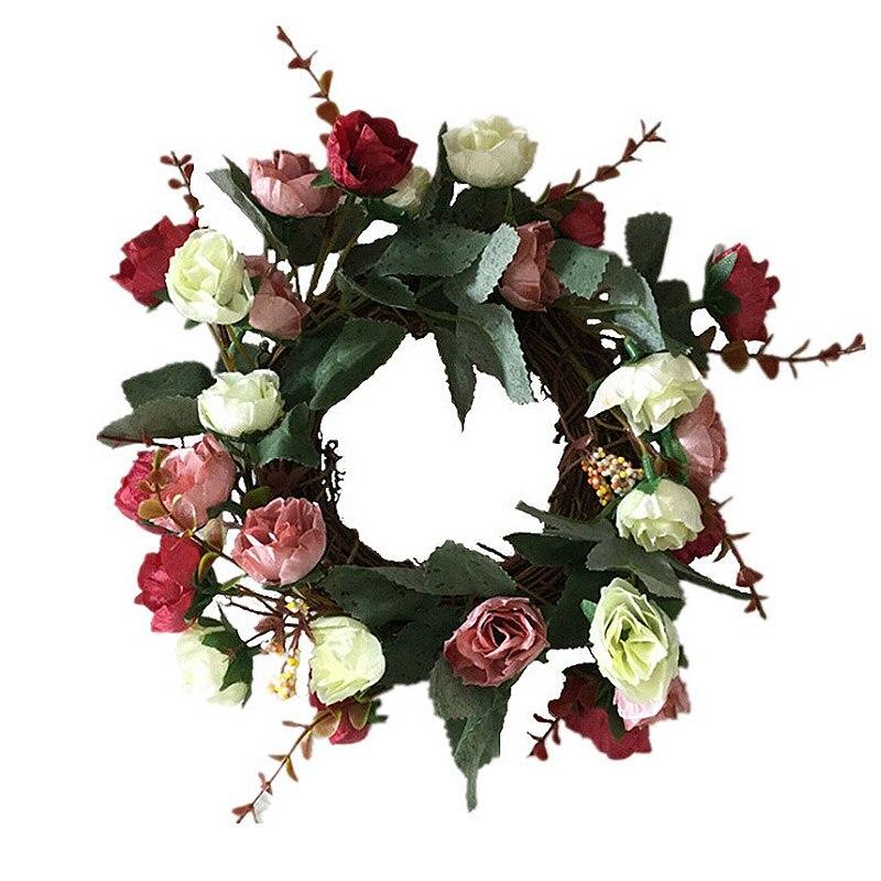 Шелковые Искусственные венки с розовыми цветами, идеальное качество, искусственные гирлянды для свадебного украшения, Декор для дома и вечеринки
