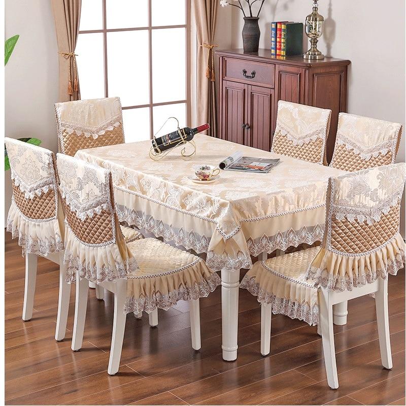 Mantel de Jacquard clásico funda de silla para comedor de encaje de mesa conjunto de sillas de decoración de banquete para el hogar Europa mantel rectangular
