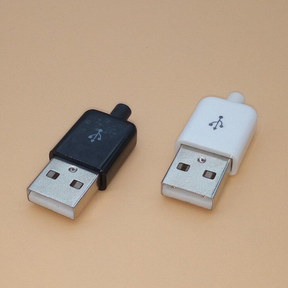 10 Uds Diy USB macho conector 2,0 Plug 4 Pin tipo A componentes blanco negro cubierta de plástico