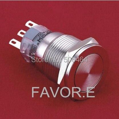 * الفولاذ المقاوم للصدأ 19 مللي متر IP67 5A/250VAC 2NO 2NC لحظة مفتاح بـزر دفع معدني فائقة شقة