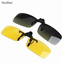 NerZhul Brand New Unisex UV400  Yellow Square Sunglasses Man Clip On Classic Men Night Goggles Sun G