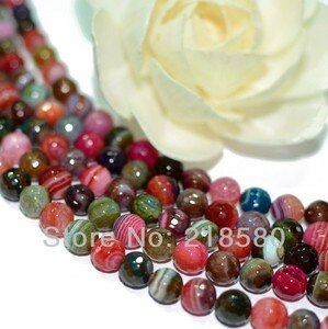 H-ARB0795 5 Strands/lot Candy Color Faceted Round Beads Stripped Agat Beads 6mm 8mm 10mm 12mm 15.5 inch