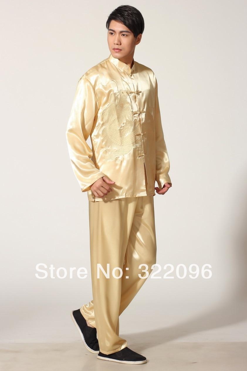 Shanghai Story  Spring men clothing set kung fu suit set men chinese Tai chi suit Beige jacket + pants kung fu uniform